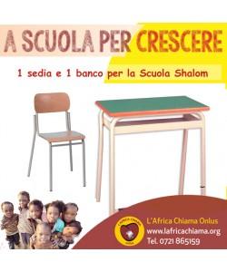 Un banco e sedia per la scuola Shalom